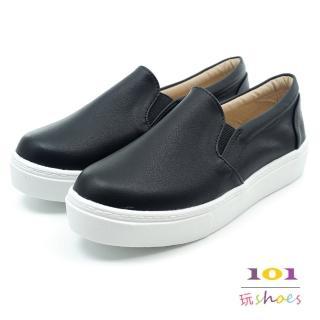 【101玩Shoes】mit.素面韓風乳膠真皮鞋墊平底休閒鞋(黑色.36-44號.大尺碼女鞋)