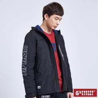 【5th STREET】男防風式鋪棉長袖外套-黑色