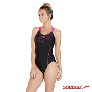 【SPEEDO】女 運動連身泳裝 Gala Logo Medalist(黑/粉紅)