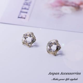【Anpan】韓東大門小清新鏤空纏繞鑽石五葉花耳釘式耳環