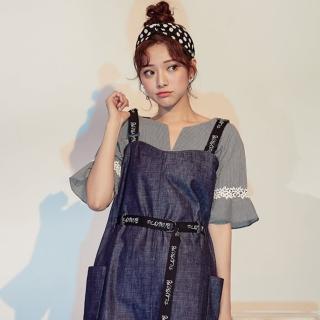 【PLAYBOY】織帶造型吊帶裙(深藍色)