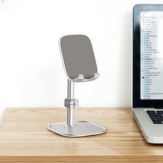 【BASEUS】倍思質感鋁合金收納線夾設計防滑懶人手機支架/平板支架(銀色)