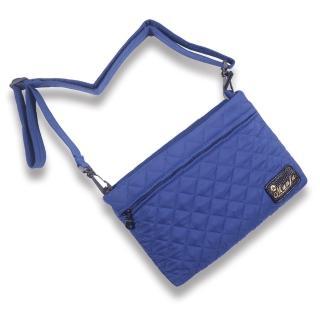 【Manfu Treasures 滿福寶】雙層斜背收納包2.0-藍鳳凰菱格 小香風(愜意散步的輕便包/內建卡片證件收納夾層)