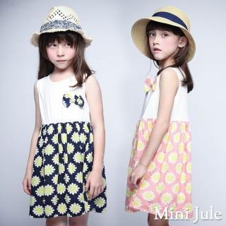 【Mini Jule】女童 洋裝 立體蝴蝶結花朵印花裙襬無袖洋裝(共2色)