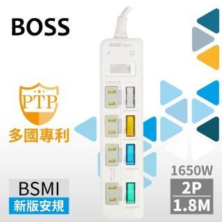 【BOSS】5開4插2P高溫斷電延長線-1.8米
