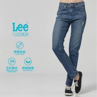 【Lee】Lee 中腰合身小直筒牛仔褲/DC-409-中藍色洗水(中藍色洗水)