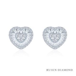 【RUIEN DIAMOND 瑞恩鑽石】50分 D VS2 鑽石耳環(18K白金 心之呢喃)