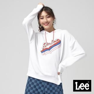 【Lee】Lee RIDERS長袖帽TEE/101+-寬鬆版-白(白)