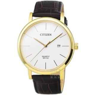 【CITIZEN 星辰】星辰簡約風格石英皮帶錶-白面金框(BI5072-01A)