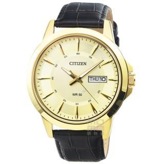 【CITIZEN 星辰】星辰簡約風格石英皮帶錶-金面金框(BF2013-05P)