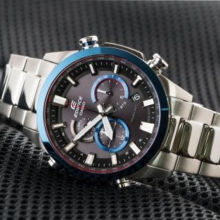 【CASIO 卡西歐】多功能太陽能電波指針錶-銀x藍(EQW-T640YDB-1A2DR)