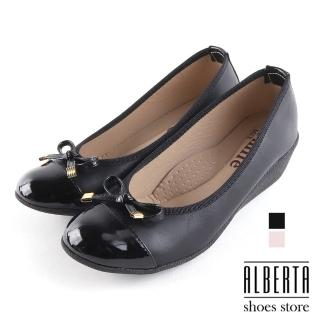 【Alberta】包鞋-舒適乳膠鞋墊 跟高5CM 皮質拼接亮皮 楔型鞋 包鞋 娃娃鞋MIT台灣製
