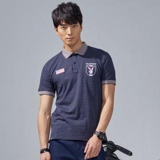 【PLAYBOY】美式滿版星形印花POLO衫(深藍色)