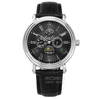 【ARIES GOLD】日月相錶 羅馬時標 藍寶石水晶玻璃 日期星期顯示 真皮手錶 黑色 43mm(G101S-BK)