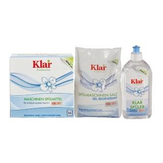 【德國Klar】洗碗機用環保洗碗粉+碗盤亮光劑+再生鹽組合(共3入/組)