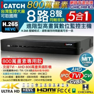 【CHICHIAU】H.265 8路4聲DTV 800萬AHD TVI CVI 5MP台製iCATCH數位高清遠端監控錄影主機-有警報輸入