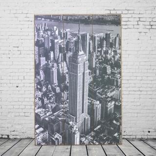 【OPUS LOFT 純真年代】40X60仿舊木板畫/無框畫/掛畫擺飾(A46004-3 美國帝國大廈_灰)