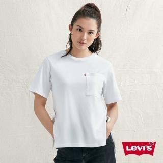 【LEVIS】女款 短袖T恤 / 層次繫帶 / 簡約單口袋 / 左袖Box Logo(亞洲限定)