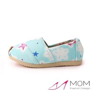 【MOM】韓版休閒舒適帆布鞋 懶人樂福鞋 童鞋(粉藍星星)