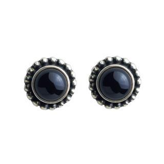 【Georg Jensen 喬治傑生】#9 黑瑪瑙純銀針式耳環