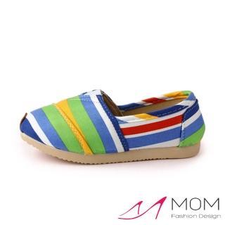 【MOM】韓版休閒舒適帆布鞋 懶人樂福鞋 童鞋(藍色虹條)