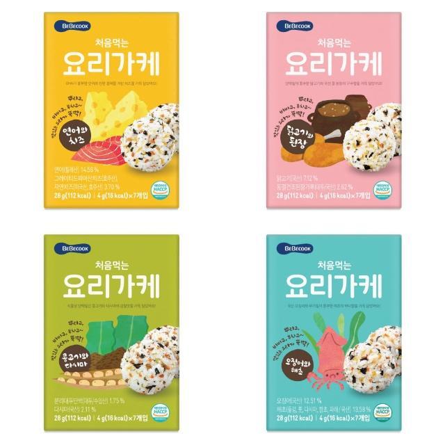 【韓國 BEBECOOK】初食拌飯香鬆 28g(鮭魚起司、雞肉味噌、牛肉蔬菜、海苔魷魚)