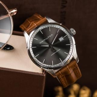 【HAMILTON 漢米爾頓】Jazzmaster 摩登爵士高雅皮革腕錶 咖啡(H32451581)