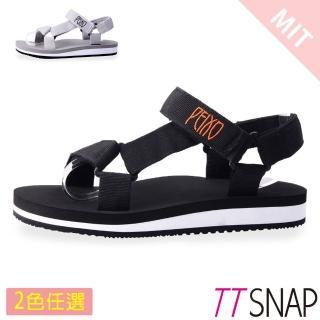 【TTSNAP】涼拖鞋-MIT寬版織帶足弓輕巧涼拖鞋(黑/灰)