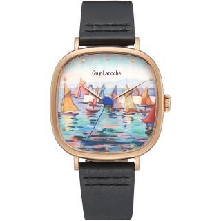 【姬龍雪Guy Laroche Timepieces】藝術系列腕錶-卡斯特蘭-戴西奧(GA1002RM-02 方形x金殼)