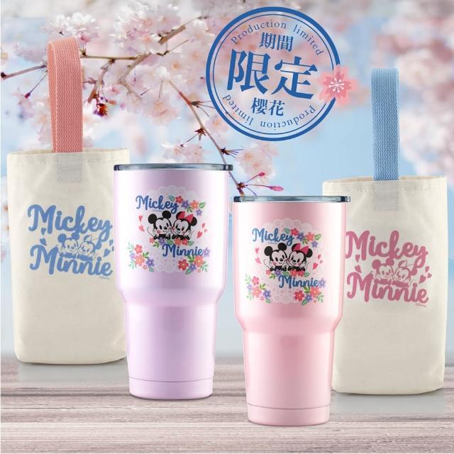 【Disney 迪士尼 超值4件組】櫻紛米奇#304不銹鋼陶瓷內膽真空保溫冰霸杯900ml(共2冰霸杯+2提袋)