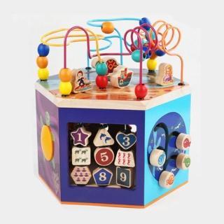 【經典木玩】六面海洋串珠設計百變多功能益智玩具(兒童教育玩具)