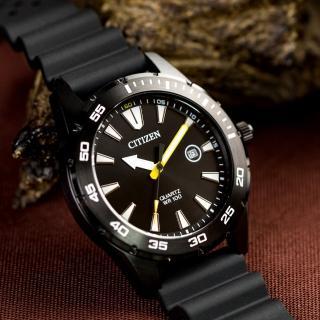 【CITIZEN 星辰】搶眼設計指針石英男錶/黑(BI1045-13E)