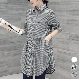 【ACheter】香格里拉美模修身輕纖棉麻長版襯衫103692#現貨+預購(2色)