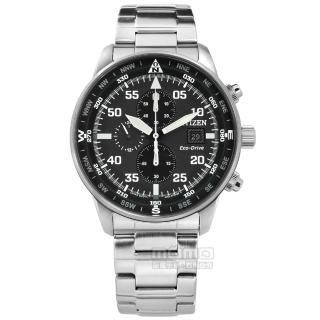 【CITIZEN 星辰】光動能 計時碼錶 日期視窗 防水100米 不鏽鋼手錶 黑色 44mm(CA0690-88E)