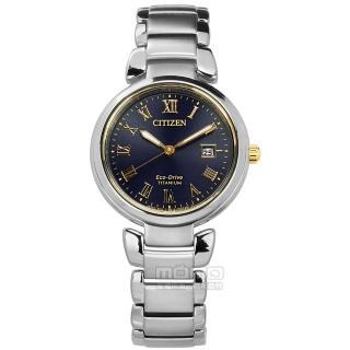 【CITIZEN 星辰】限量 光動能 藍寶石水晶玻璃 日期 鈦金屬手錶 深藍色 29mm(EW2509-83L)