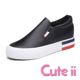 【Cute ii】撞色織帶經典皮面內增高休閒厚底樂福鞋(黑)
