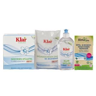 【德國Klar & Almawin】洗碗機用環保洗碗粉+碗盤亮光劑+再生鹽+洗滌粉組合(共4入/組)