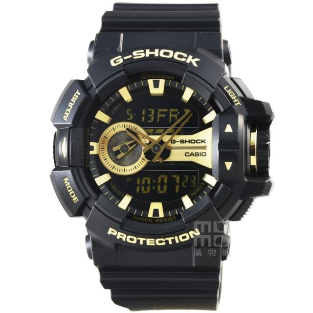 【CASIO 卡西歐】卡西歐G-SHOCK 雙顯重機鬧鈴電子錶-黑(GA-400GB-1A9)