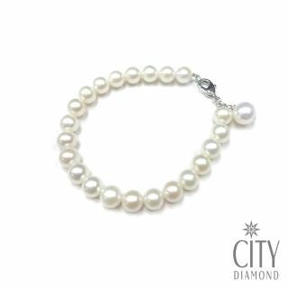 【City Diamond 引雅】淡水天然珍珠7mm垂吊手鍊(手作系列)