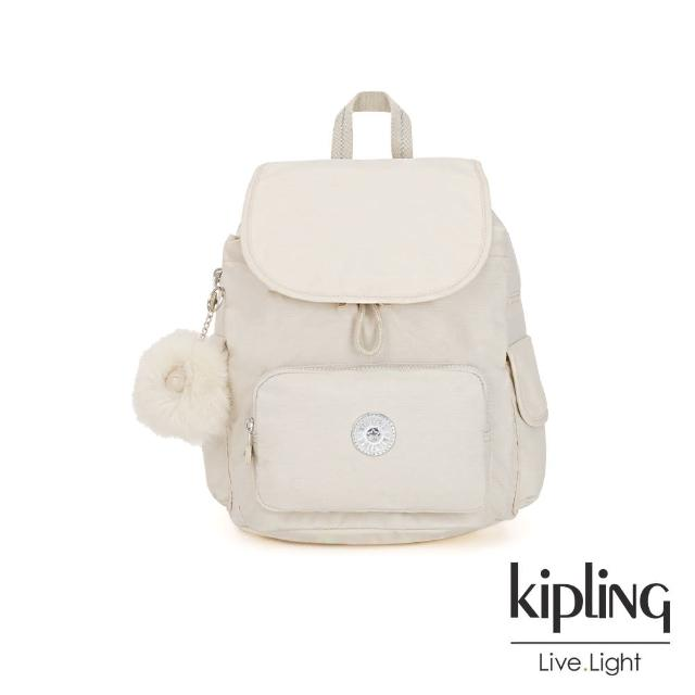 【KIPLING】優雅米白拉鍊掀蓋後背包-CITY PACK S