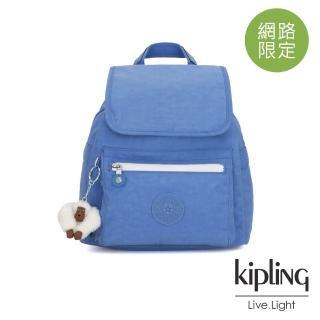 【KIPLING】晴空蔚藍翻蓋束口後背包-NEW ELLA
