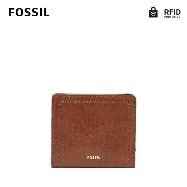 【FOSSIL】LOGAN 咖啡色真皮拉鍊短夾SL7829200