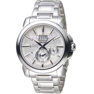 【SEIKO 精工】Premier人動電能萬年曆腕錶(7D56-0AG0S SNP159J1 銀白)