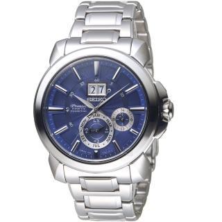 【SEIKO 精工】Premier人動電能萬年曆腕錶(7D56-0AG0B SNP161J1 藍)