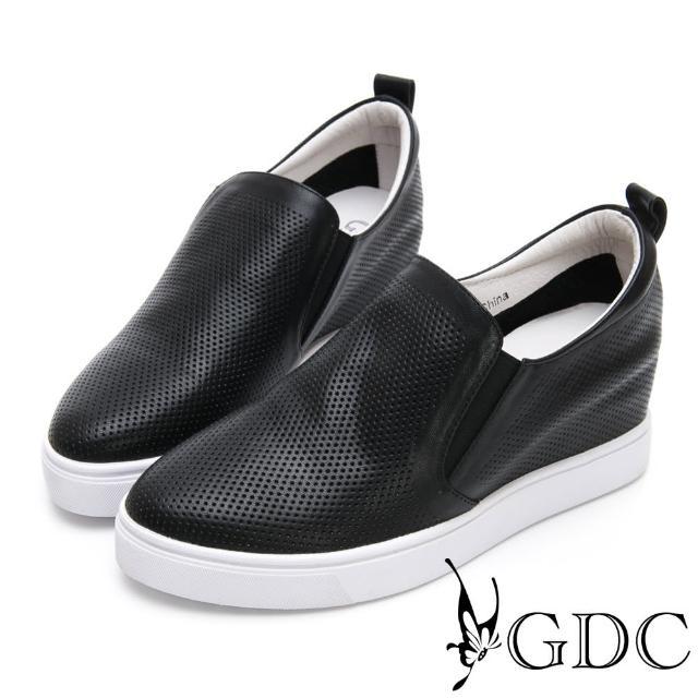 【GDC】真皮舒適沖孔基本素面內增高休閒鞋-黑色(914501)