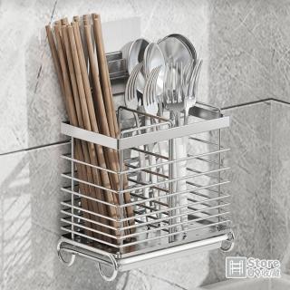 【Store up 收藏】頂級304不鏽鋼 可掛可立兩用大容量分隔筷筒 餐具筒-可貼牆面(AD107)