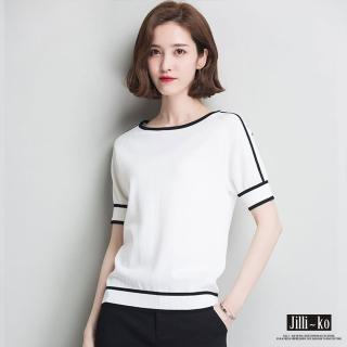 【JILLI-KO】薄款冰絲麻針織T恤-F(白/黑)