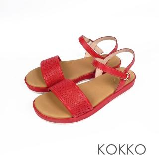【KOKKO集團】盛情夏威夷平底寬版軟底涼鞋(朱槿紅)