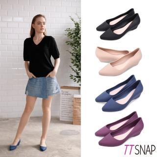 【TTSNAP】雨鞋-晴雨兩用粉嫩低跟防水鞋(黑/米/藍/紫)
