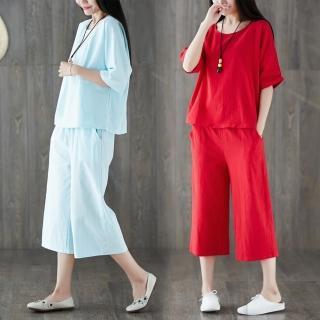 【REKO】棉麻寬鬆休閒套裝M-2XL(共三色)